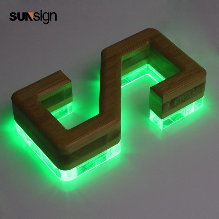 3d Wooden Channel Letter RGB Led Strong Light Back Lit Letter