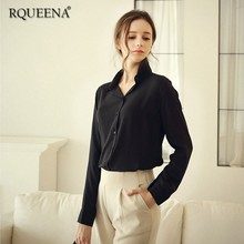 Rqueena Women's Blouses And Shirts Female White/Black/Blue/Yellow Woman Shirt Long Sleeve Turn-Down Collar Shirt For Women SS001