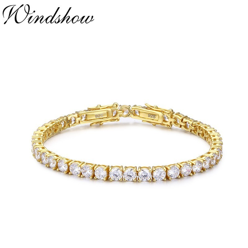 925 Sterling Silver Gold Color Round CZ Zironia Tennis Bracelets Pulseras Pulseira Bracelete Women Wedding Jewelry Girls Friend