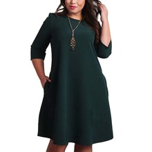 L 6XL Big Size Dresses Office Ladies Plus Size Casual Loose Autumn Dress Pockets Green Red