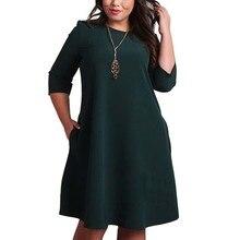 L-6XL Big Size Dresses Office Ladies Plus Size Casual Loose Autumn Dres