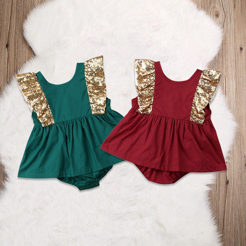 Infant Newborn Baby Girls Clothes Sequins Romper Sleeveless Ruffles Princess Casual Clothes Outfits Baby Girl 0-24M
