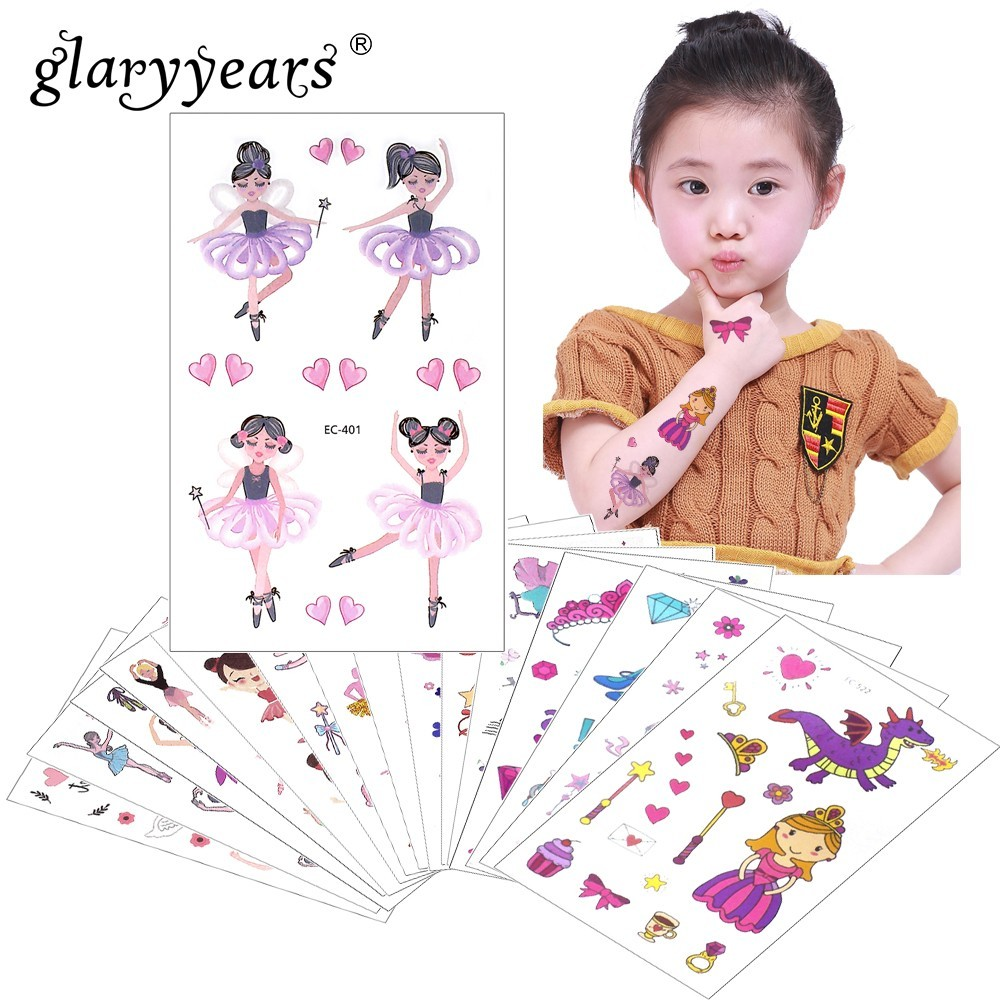 GlaryyearS 1 Sheet Temporary Tattoo Sticker Colorful Fake Tatoo Princess Flash Tatto Waterproof Small Body Art Child 24 Designs