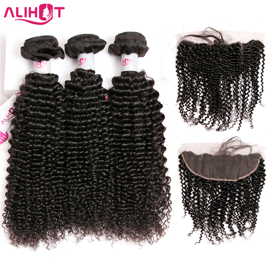 Ali Hot Kinky Curly Wave Bundles With Frontal Brazilian Hair Lace Frontal With Bundle Remy Human
