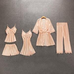 Image 5 - Vrouwen Pyjama 5/4/2/1 Stuks Satin Nachtkleding Pijama Zijde Thuis Slijtage Thuis Kleding Borduren Slaap Lounge Pyjama met Borst Pads