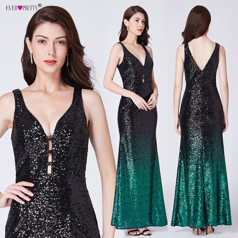 Image 4 - Ever Pretty Gold Prom Dresses V neck Sleeveless Mermaid Sparkle Long Party Gowns 2019 Women's Sexy Sequined Vestidos De Gala-in Prom Dresses from Weddings & Events