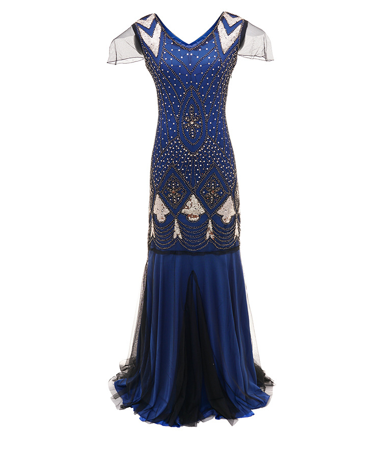 noir Dame bleu Filetée cravate Lanterne Robe De Arc 3 Beige Lsy89 Spliced Atmosphérique Nyv8Ownm0