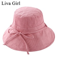 b3f2d06247d Liva Girl Brand Wide Large Brim Sun Caps Women Linen Cotton Bow Foldable Bucket  Hat Outdoor. 7 Colors Available