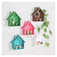 Creative Retro Small House Storage Rack Ornaments Wooden Crafts Wall Hanging Storage Shelf Home Living Room Decoration Gifts