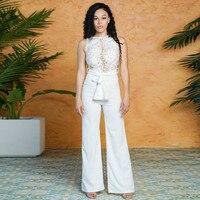lace bodysuit bandage elegant long white jumpsuit wide leg jumpsuits rompers womens body feminino combinaison femme streetwear