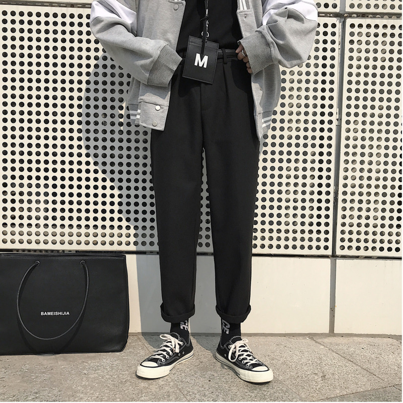 Salvaje Invierno Los Recto De Otoño Gris Hombres Es Gruesa Nuevo M gris Color 2018 Oscuro Casuales Sólido E Lana Pantalones Negro 2xl Negro Harem xfwq6