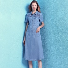 Nordic winds denim dress summer thin stitching hollow out chemical allover lace short-sleeved women NW19B6084