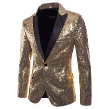New Mens Stylish Gold Colorized Double-Color Sequins Bling Blazer Nightclub Bar