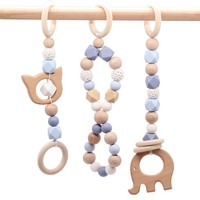 Baby Teether Play Gym Toy Safe Silicone Bead Beech Wood Hanger Stroller Toys Toddler Teething Rattle Wooden Teether Newborn Gift