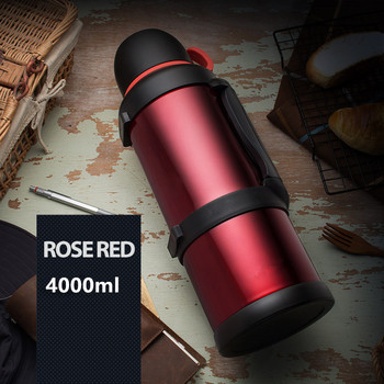 Stainless Steel Insulated Thermos Bottle 4L/2.5L Cup Travel Coffee Mug Vacuum Water Sport Kettle