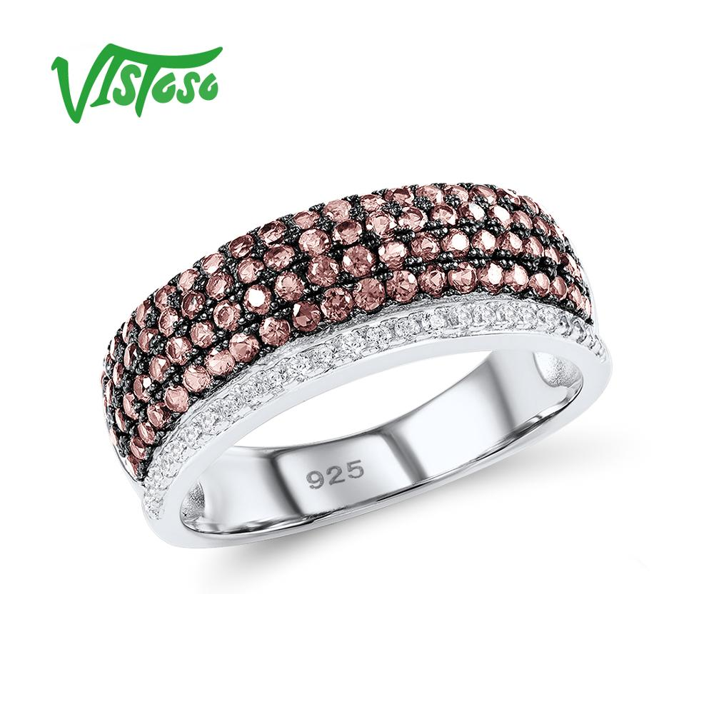 VISTOSO Silver Rings For Woman Sparkling luxury Chocolate Cubic Zirconia Ring Female 925 Sterling Silver Rings Fine JewelryVISTOSO Silver Rings For Woman Sparkling luxury Chocolate Cubic Zirconia Ring Female 925 Sterling Silver Rings Fine Jewelry