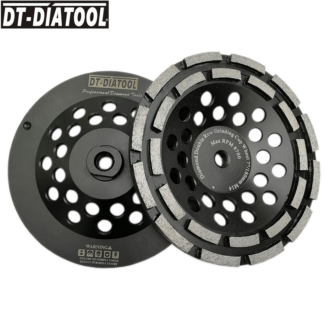 DT-DIATOOL 2pcs 180mm/7 Premium Diamond Double Row Cup Grinding Wheel for Concrete Hard Stone Granite M14 thread Grinding Disc 2pcs dia 125mmx10mm vacuum brazed diamond grinding wheel dia 5 beveling wheel flat for marble granite artificial concrete stone