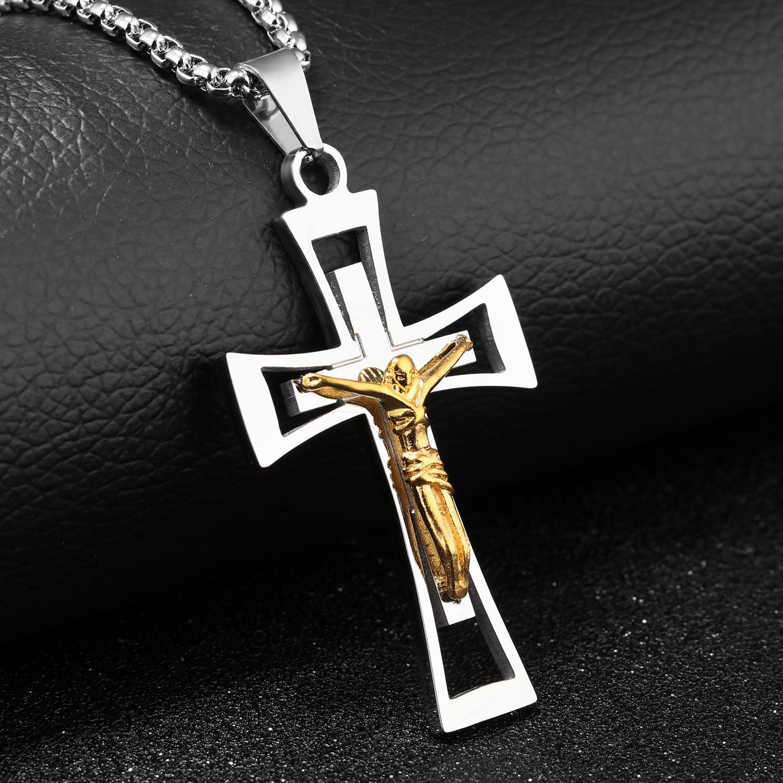 Catholic Jesus Christ Cross Crucifix Pendant Necklace Jewelry Silver Gold US