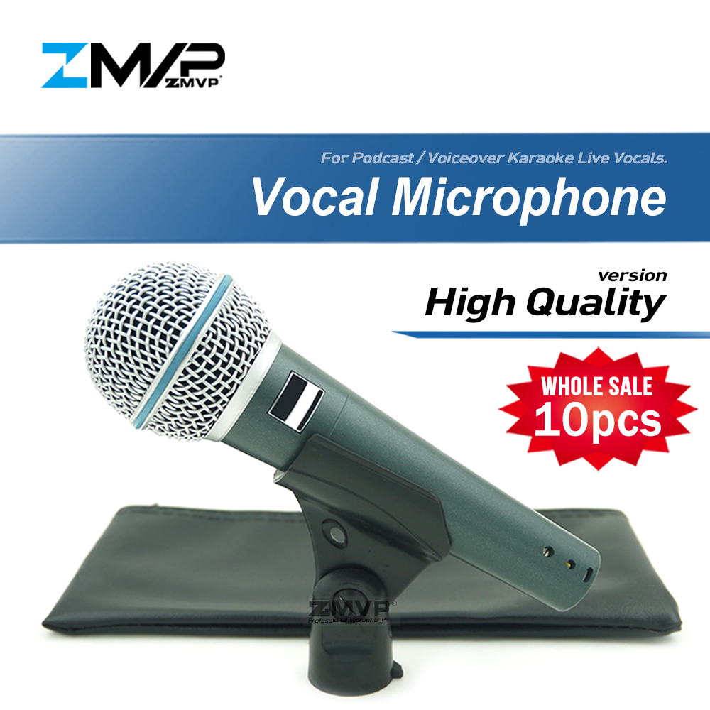 10pcs High Quality Version Super cardioid BETA58 Live Vocals Karaoke Dynamic 58A Wired Microphone Podcast Voiceover