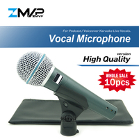 10pcs High Quality Version Live Vocals Karaoke Dynamic Supercardioid Wired Microphone For BETA58A Podcast Voiceover BETA 58A Mic