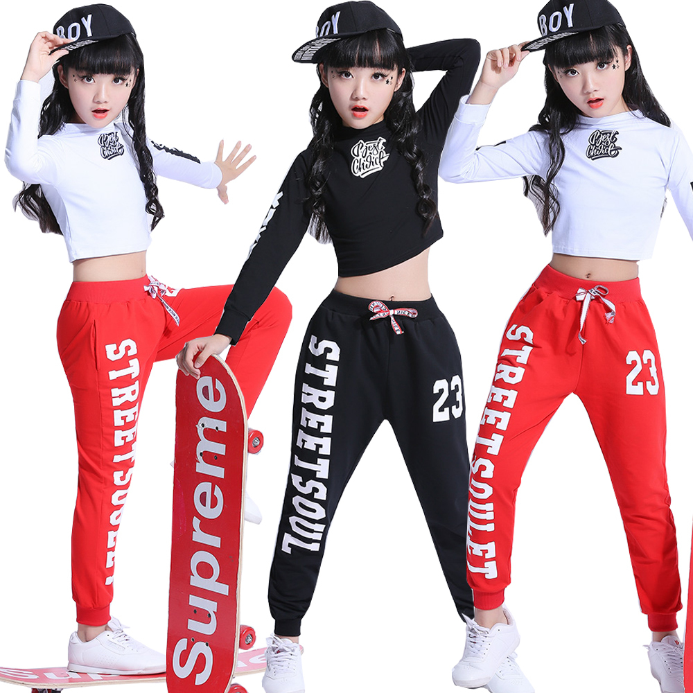 Black Fashion Children Jazz Dance Clothing Girls Street Dance Hip Hop Dance Costumes Kids Party Stage Performance Clothes Set
