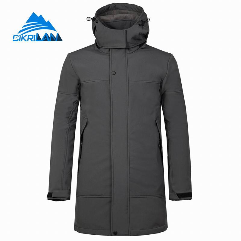 Mens Long Hooded Outdoor Softshell Windbreaker Coat Camping Trekking Climbing Skiing Hiking Jacket Men Sports Fleece Lined Coats
