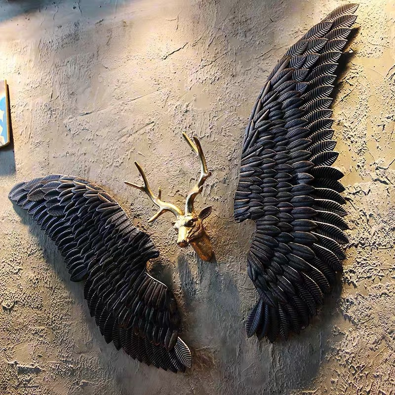 Retro Industrial Wind Decoration Wall Hanging Iron Angel Wing Wall Decoration Bar Coffee Wall Decoration Murals Retro Iron Wings