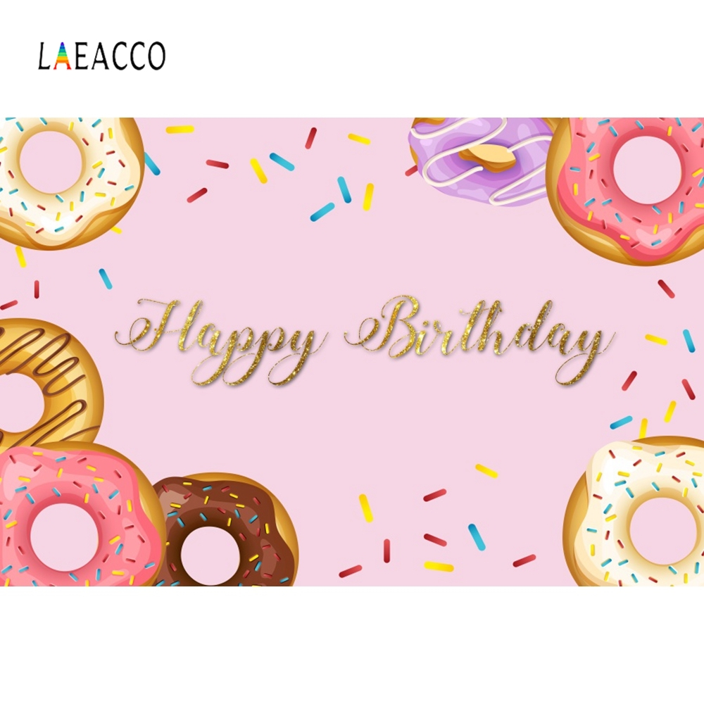 Laeacco Donut Pink Baby Girl Birthday Party Decoration Photography Background Customized Photographic Backdrops For Photo Studio in Background from Consumer Electronics