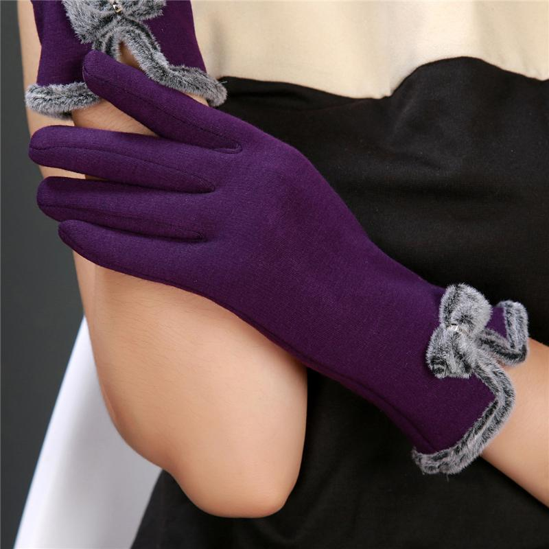 Cute Women Female Touch Screen Wrist Gloves Sheep Wool Warm Bowknot Winter Gloves Elegant Fashion Thicken Women Eldiven Guantes