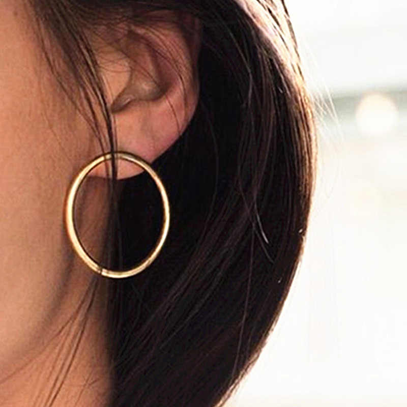Large Hoop Earrings Stainless Steel Fashion Jewelry Gold-color Circle Round Pattern Earrings For Women Wholesale Hot Sale JN0201