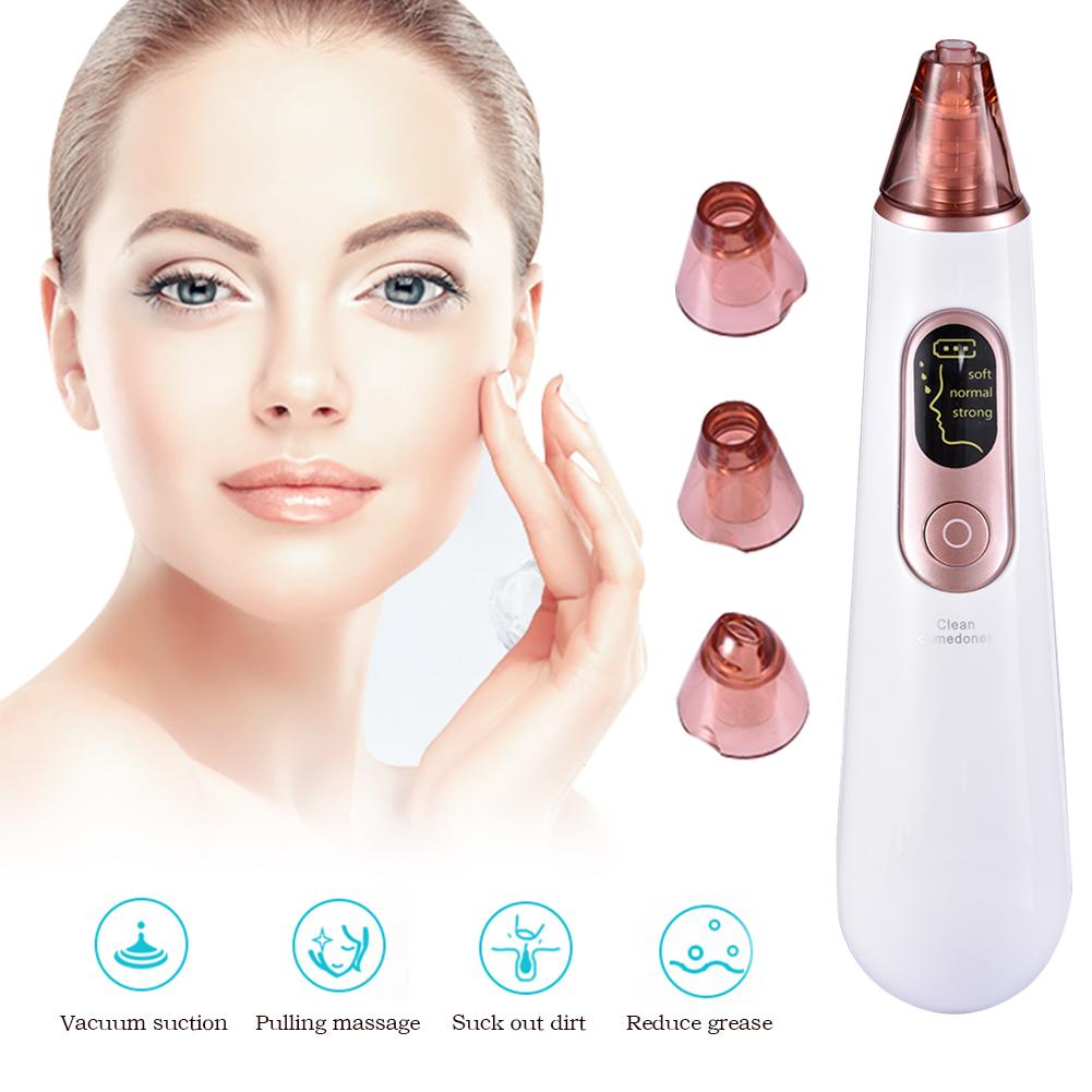 Electric Blackhead Remover Facial Pore Cleanser Face Skin Care Tools Nose Acne Pimple Remover With LED Screen 4 Probes 3 Modes