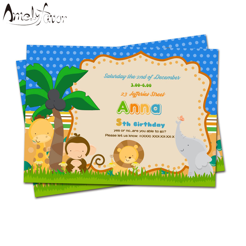 Us 5 91 26 Off Safari Animal Wild Invitation Card Birthday Party Decorations Supplies Kids Event Birthday Blank Custom Made Jungle Invitations In
