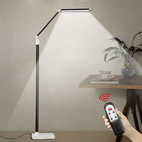 12W LED Floor Lamps for Living Room Piano Indoor Lamps 5 Level Brightness Adjustment Touch Remote Control Black Silver Colour