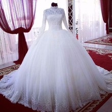 ELNORBRIDAL Muslim Wedding Dresses Long Sleeve Ball Gown