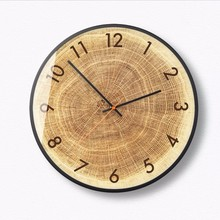New 12/14 Inch Wood Grain Wall Clock Modern Design Minimalist Silent Round Charts Clocks Large Size For Living Room