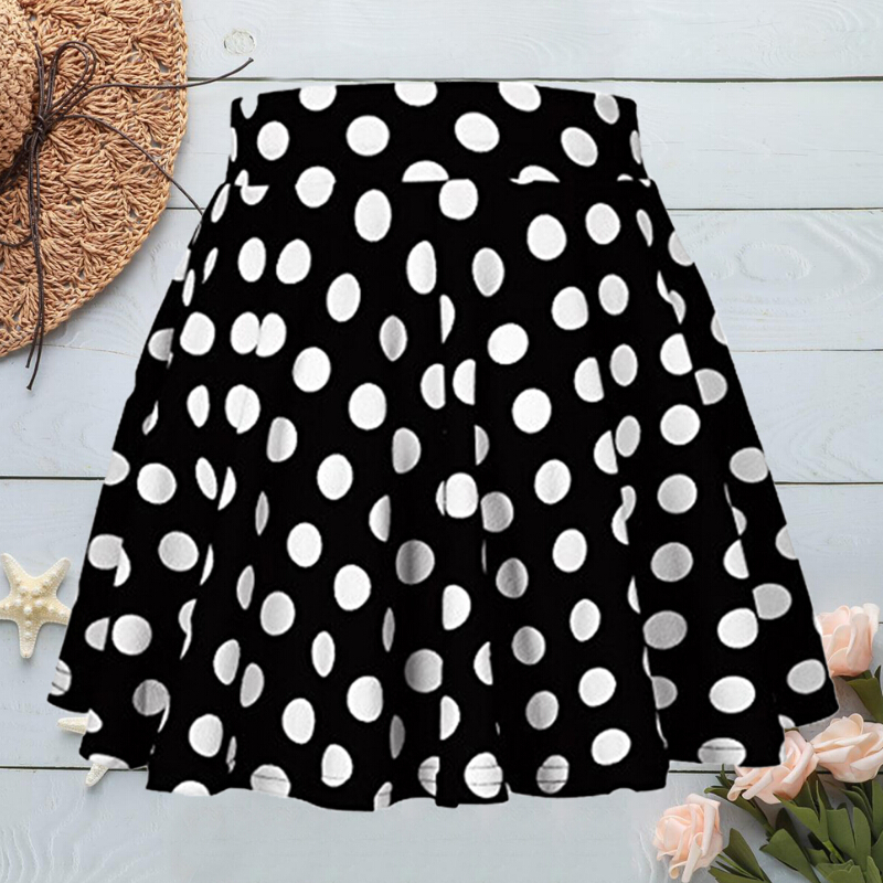 Fashion Skirts Women Elastic Waist A Line Skirts Polka Dot Swing Skirt Club Party Skirts For Female