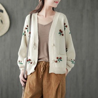 Women's Beige/Red Knitted Cotton Fruit Embroidery Mori Girl Loose Cardigan Sweater