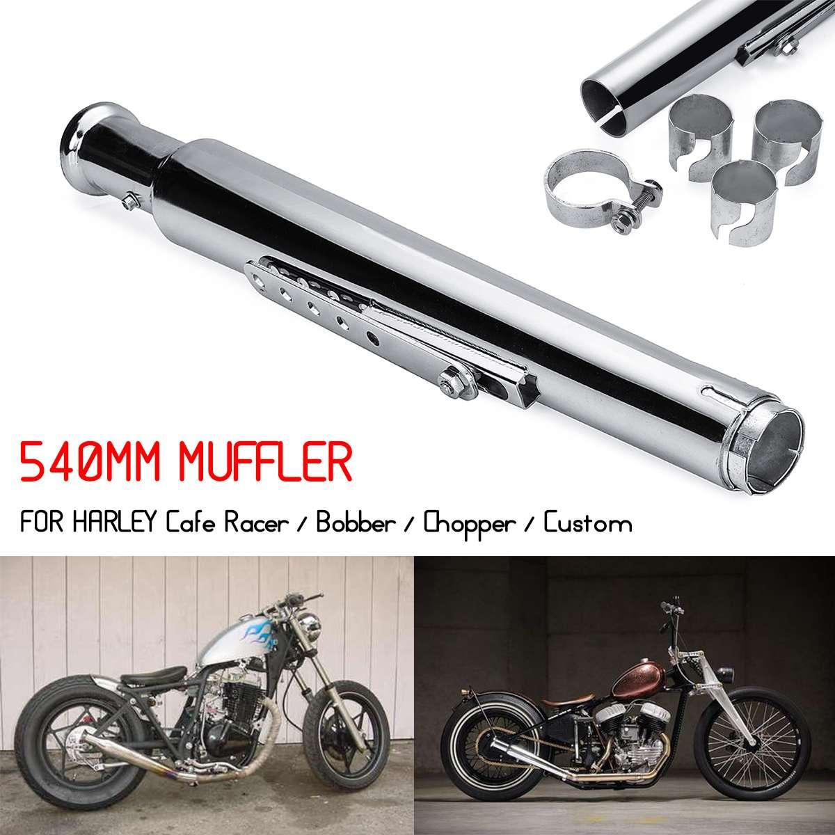 540 MM moto rétro pot d'échappement silencieux embout d'échappement queue Tube silencieux pour Harley café Racer Bobber Chopper personnalisé