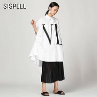 SISPELL Summer Women Shirt Lapel Collar Batwing Sleeve Button Loose Casual Letter Print Blouse Top Female Fashion New 2019 Tide