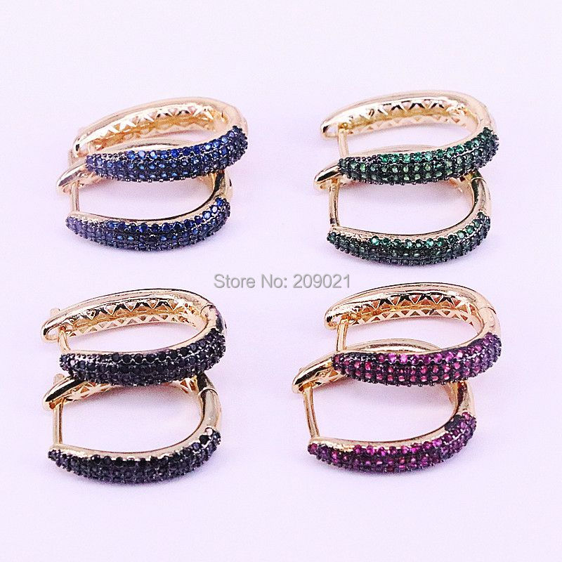 5Pairs High Quality Fashion Paved CZ cubic zirconia Mix Color U Shape Hoop Earrings For Womens