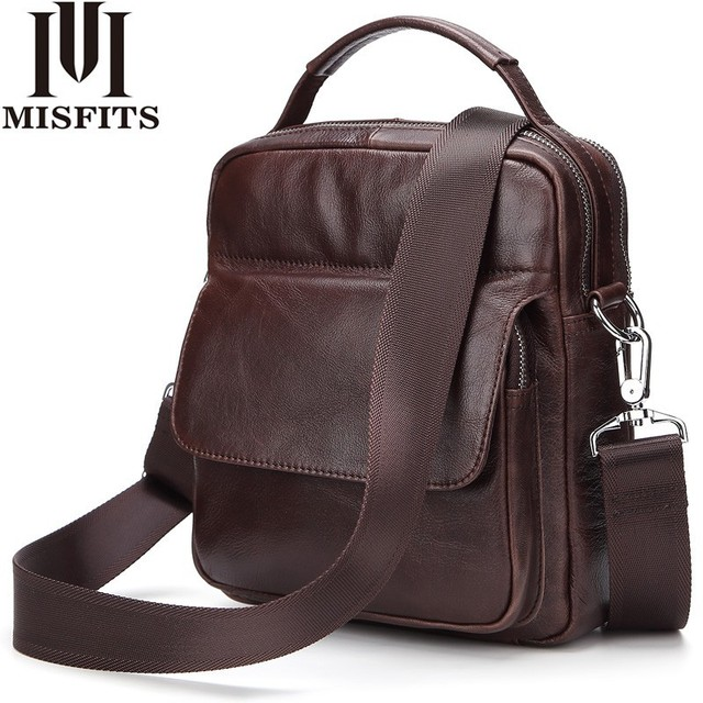 11fa52086fd5 US $52.03 |MISFITS Genuine Leather Bag top handle Men Bags male Shoulder  Crossbody Bags Natural Cowhide Messenger Fashion Small Handbags on ...