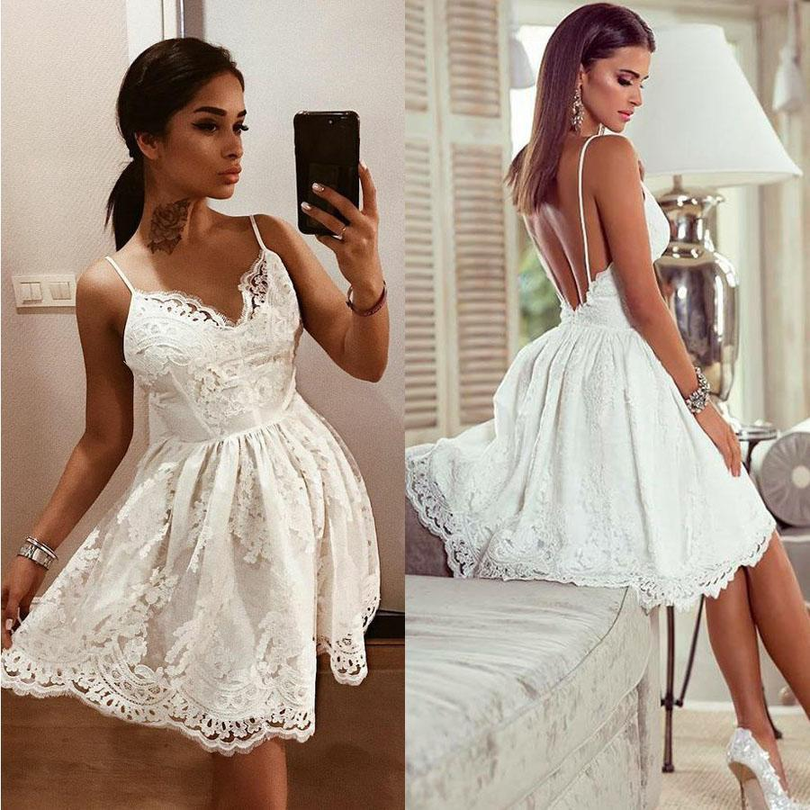 White Lace Cocktail Dresses Sexy A-line Backless Sleeveless Sweetheart Appliques Fashion Feest Jurken Knielengte Party Dresses