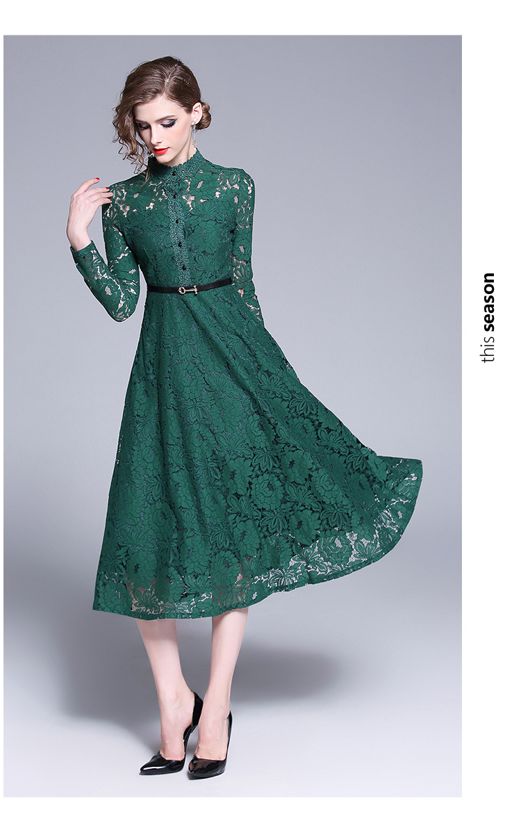 Nouveau 2019 mode femmes robe Slim grande pendule robes vert 6892