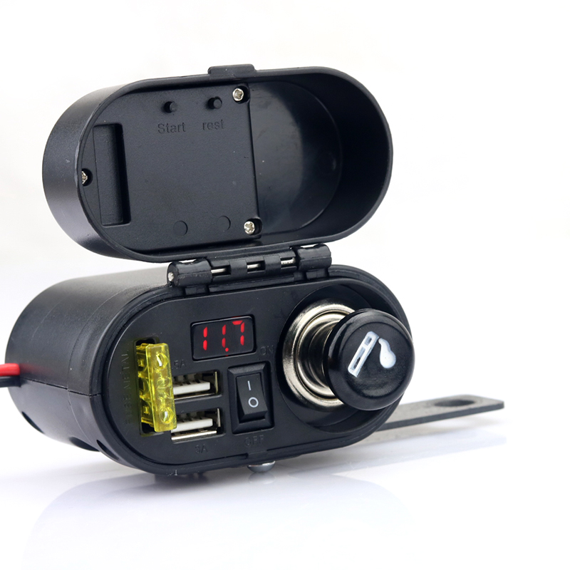 Waterproof Motorcycle Cigarette Lighter Dual USB Charger With Voltmeter Time Display 5v 1A 2.1A Power Supply For Phone Mobile