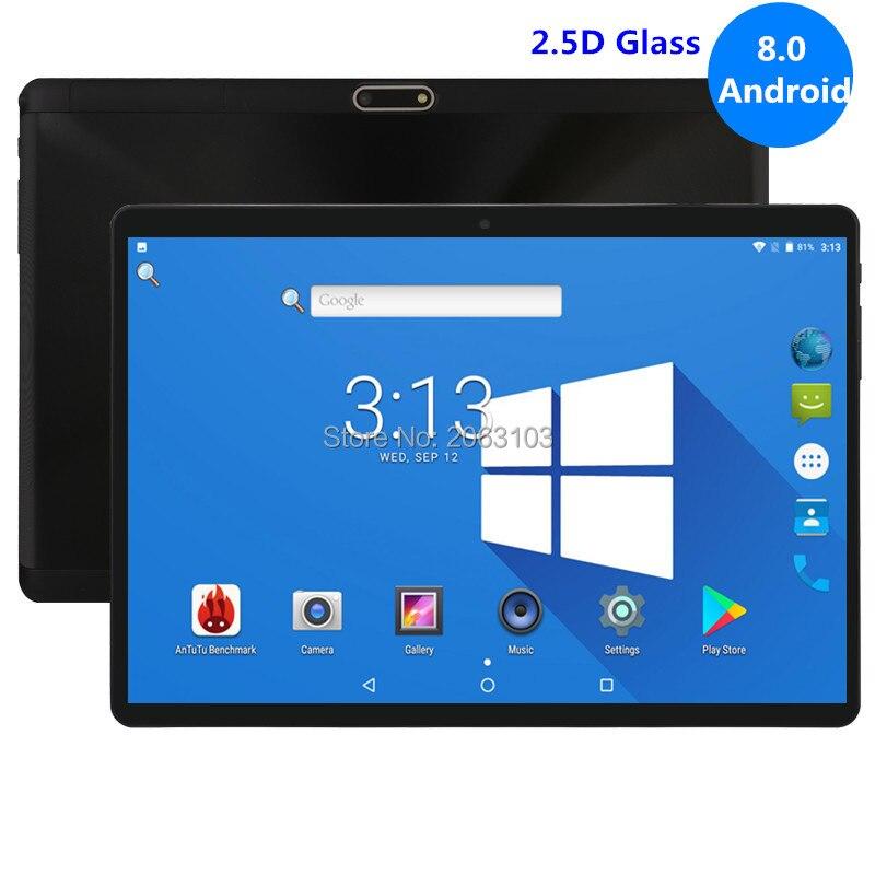 Top Trempé 2.5D Verre 10 pouce tablet Android 8.0 Octa Core 4 gb RAM 32 gb ROM 8 Noyaux 1280*800 Écran IPS Comprimés 10.1 + Cadeau