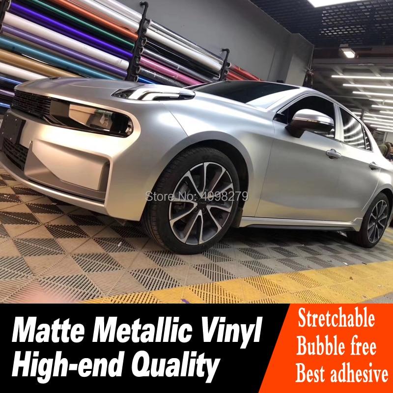 La plus haute qualité argent mat métallisé vinyle wrap feuille voiture autocollant haut de gamme couleur chaude mat métal wrap film garantie qualité