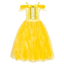 AmzBarley Princess Belle Dress Off Shoulder Layered Cosplay Costume Up For Little Girl Wedding Costumes Party Ball Gown