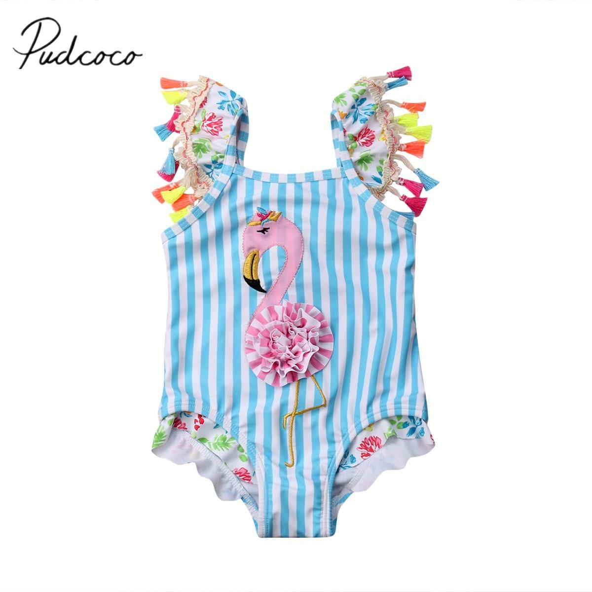 2019 Brand New Newborn Kids Baby Girls Flamingo Bikini Colorful Tassel Sleeve Swimwear Swimsuit Bathing Suit Beachwear 6M-5T