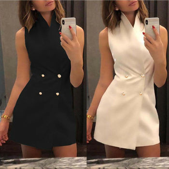 Women Collar Sleeveless Blazer Double Breasted Short Dresses Lapel Button Solid Dress za women double breasted check blazer long sleeve lapel collar blazer front flap pockets double breasted front button fastening
