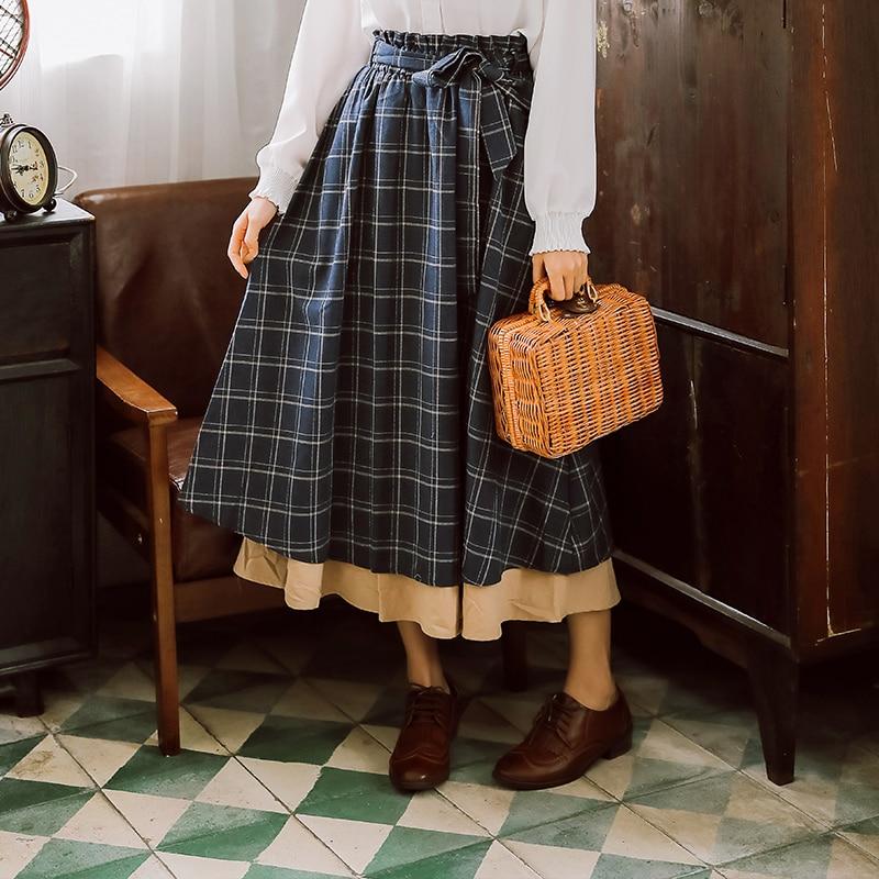 Japanese Mori Girl Vintage Plaid Skirts Women High Waist Cotton Long Skirts Japan Style Spring And Autumn Midi Saia